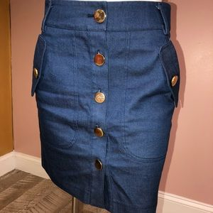 Cynthia Cynthia Steffe Denim Button Skirt size 0